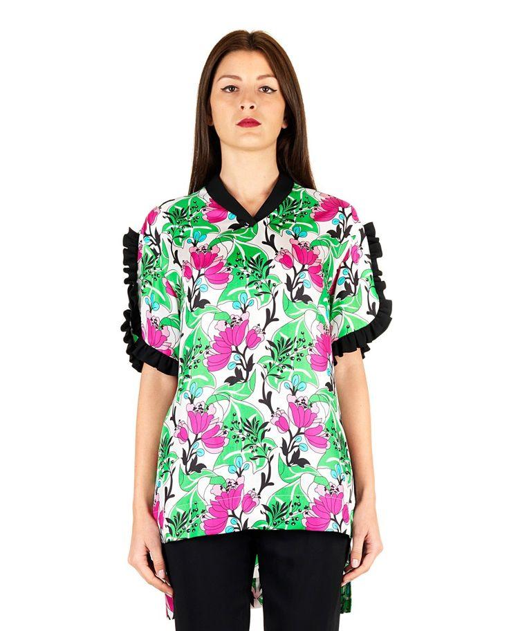 ANTONIO MARRAS Silk multicolor blouse  V-neck short sleeves floral print asymmetric hem 100% SE VI 54% 44% SE 2% EA