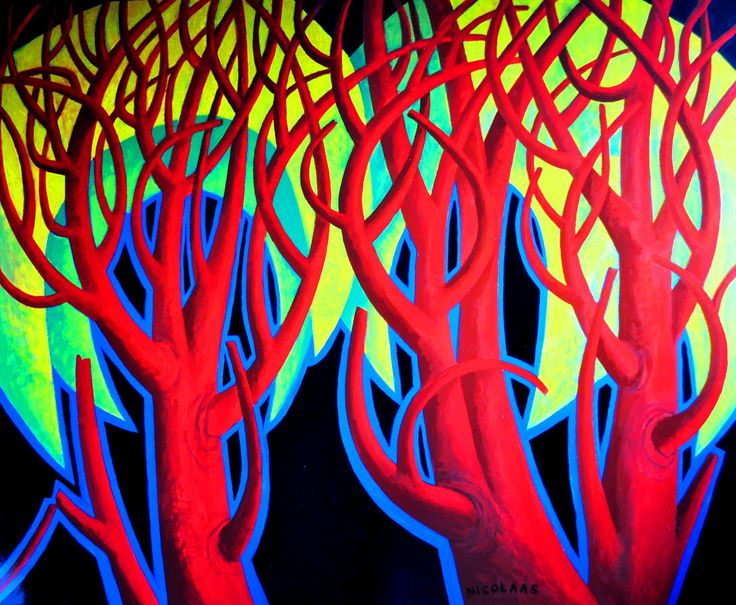NAMIBIAN THORN TREES, enamel on board, 2012/13 by Nicolaas Maritz.Available from the Maritz Studio Gallery, Darling, SOuth Africa. Enquiries: maritzstudio@telkomsa.net