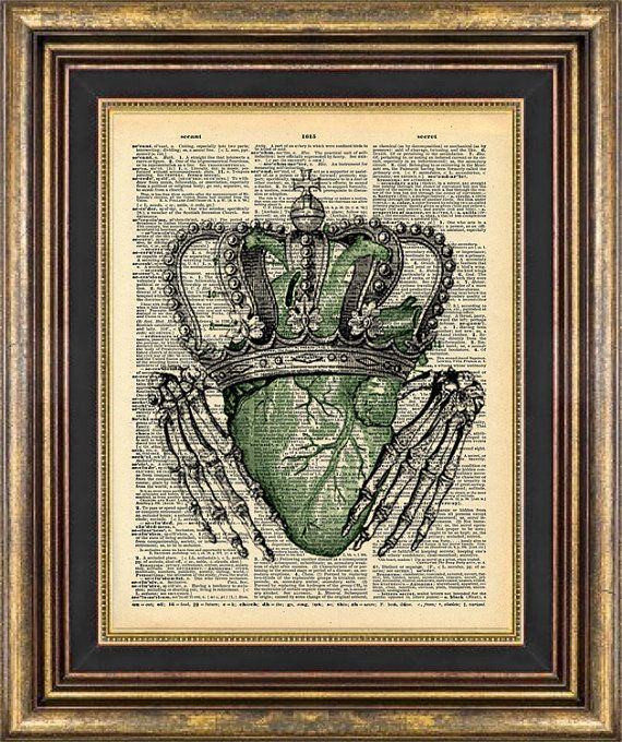 CLADDAGH Irish Skeleton Hands St Pattys St Patricks Day Vintage Book Page print on Etsy, $9.00