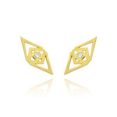 OCULUS EARRINGS IN 14 CARAT GOLD. Metal: Glossy 14 karat yellow gold. Stones: 2 brilliant cut diamond 0.035 carat (full cut) - Conflict free, because we care! See more at www.gittesoee.com