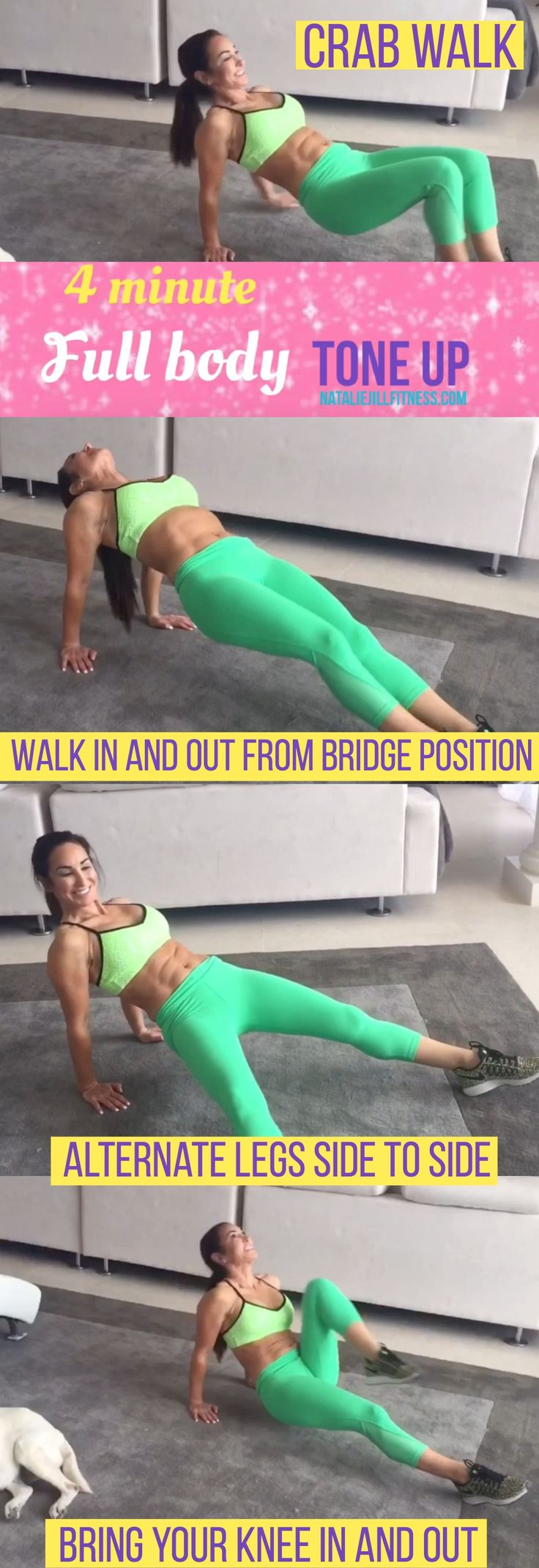 4 minute full body tone up workout routine! REPIN if you're in & click image to watch video. First, From the reverse BRIDGE position, fingers pointed forward, Crab walk forward and back NEXT Walk in and out from the bridge position. You will REALLY feel this in your core, glutes and triceps! Next, holding that reverse bridge position, alternate legs side to side (working those outer thighs) Finally, from that same reverse position, bring your knee IN and out really targeting abs and booty.