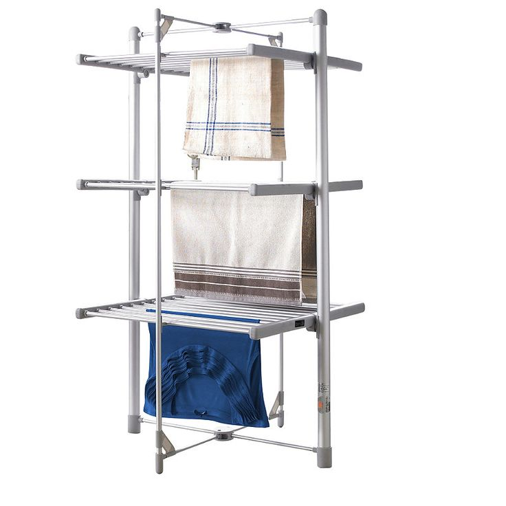Lakeland Dry-Soon 3-Tier Heated Tower Airer Costing only pennies per hour, drying on our heated airer is cheaper than expensive tumble drying and better than muffling the heat from your radiators by laying clothes over them. Extremely versatile, just position the folding shelves to suit your needs: fold out to hang T-shirts, socks and smalls, lay delicate items flat to avoid stretching, or open only the top tier to hang sheets and big towels without them touching the floor.