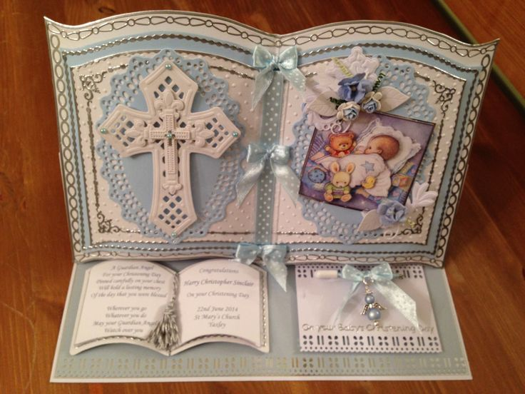 Baby boy Christening Bookatrix card with Guardian Angel Nappy pin