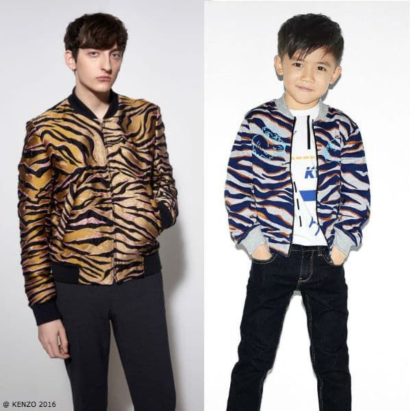 Kenzo Boys Mini Me Tiger Print Bomber Jacket for Fall 2017. Inspired by the Kenzo Men 2016 Collection