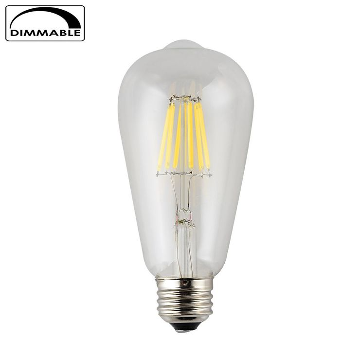 OPALRAY 6W Dimmable Edison Style Vintage ST64(ST21) Bulb with LED Filament, E26 Screw Base Lamp,4000K Natural White,600LM 60W Incandescent Bulb Equivalent(6W Natural White-1 Pack)