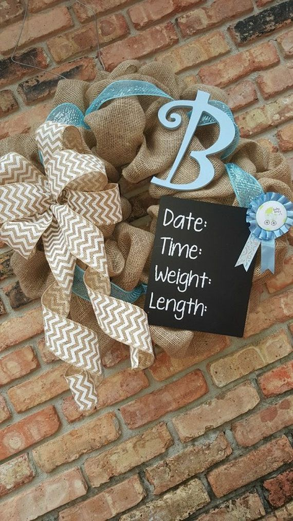 Baby boy/girl monnagram wreath by CrystalAnneCreations on Etsy