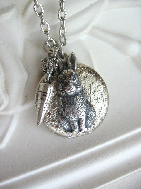 RabbitLOCKETSilver LocketBunnyRabbit by CharmedValley on Etsy