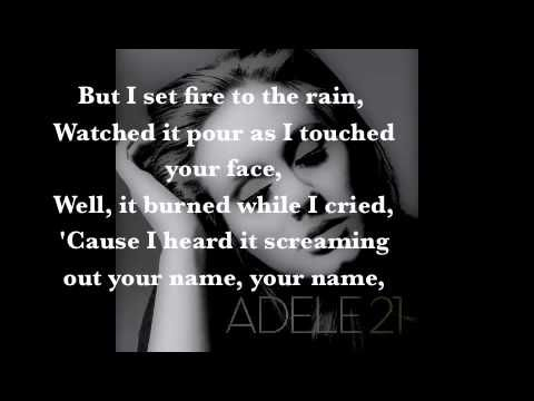 Adele - Set Fire to the Rain.  LOVE this song (just listen, or follow the lyrics if you like).