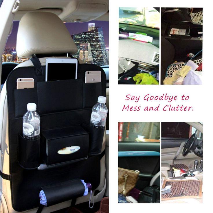 40 * 56CM Car Seat Organizer Multifunctional Storage Bag Hanger Leather Seat Back Cover Storing Pocket Pouch Sales Online black - Tomtop