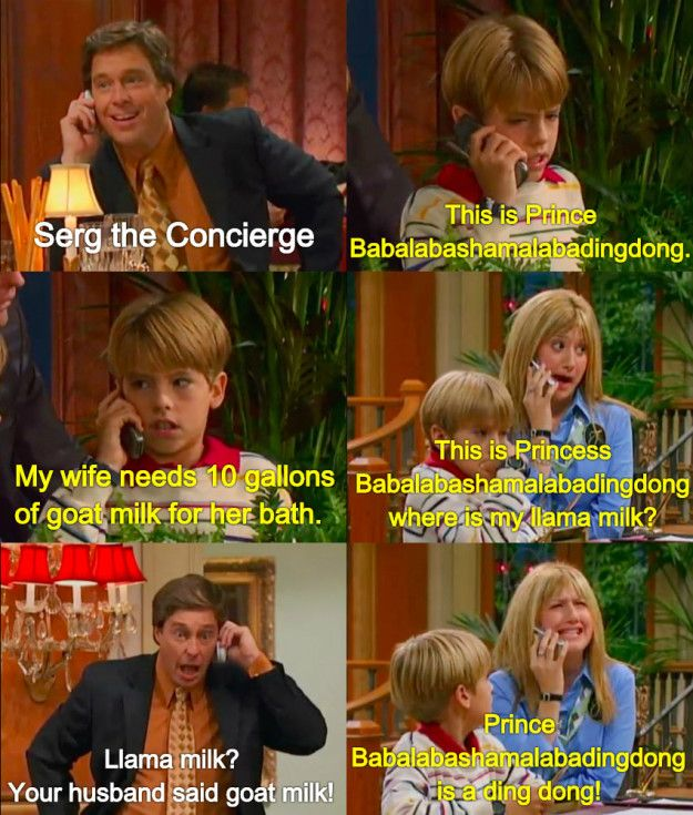 """And, of course, when royalty rang:   Community Post: 21 Of The Most Underrated Moments From """"The Suite Life Of Zack And Cody"""""""