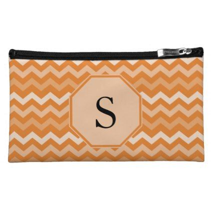 Orange Chevron Monogram Makeup Bag - monogram gifts unique custom diy personalize