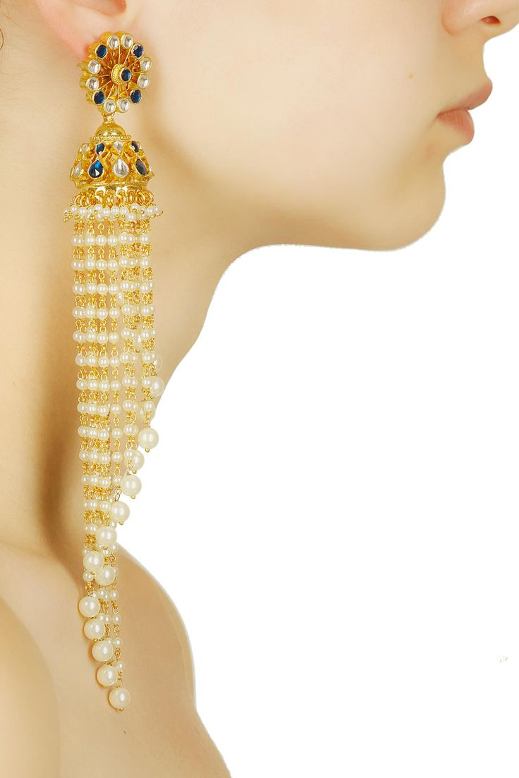 Gold plated trailing pearl and blue stones long jhumkis available only at…