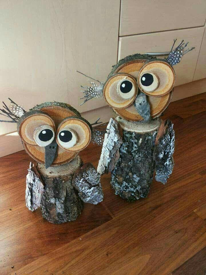 Wood Logs Owl - Amazing DIY Owl Garden Decorations #gardendecorations #fallgarden #woodenowl #owl
