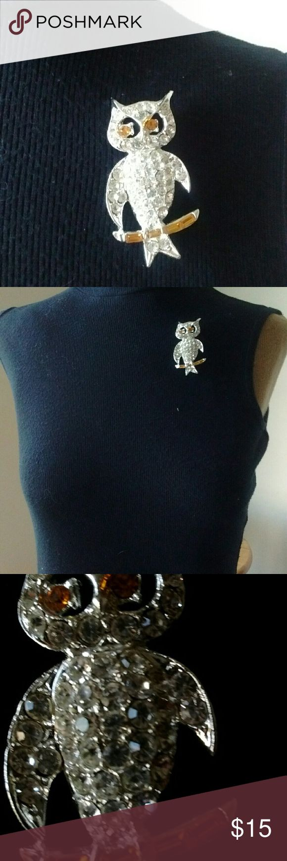 Rhinestone Owl Brooch Cute little owl with yellow (slightly crossed ) eyes. Jewelry Brooches