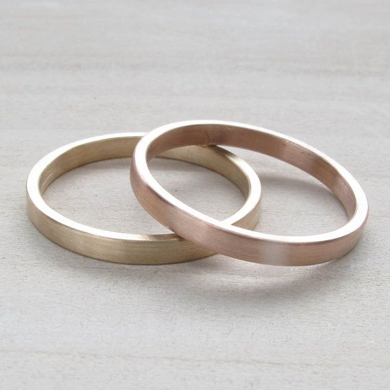 hers and hers wedding band set 2x1mm bespoke recycled eco friendly solid 14k yellow gold wedding band set lesbian wedding - Same Sex Wedding Rings