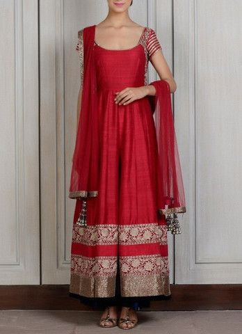 Maroon raw silk anarkali suit – Panache Haute Couture