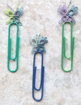 free pattern for tatted paper clip butterflies ..... cute on bobby pins for emma's hair