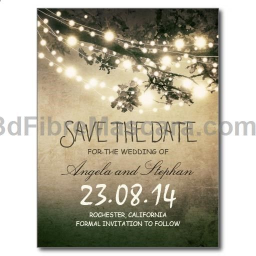 rustic save the date postcards with vintage grungy night string lights design to change the