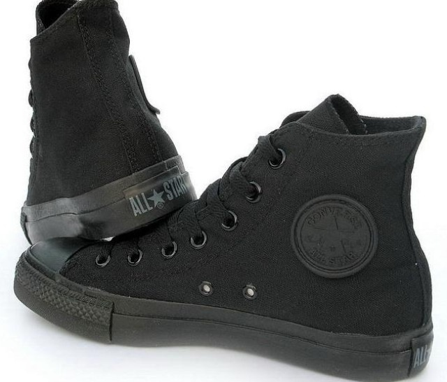 All black high top converse