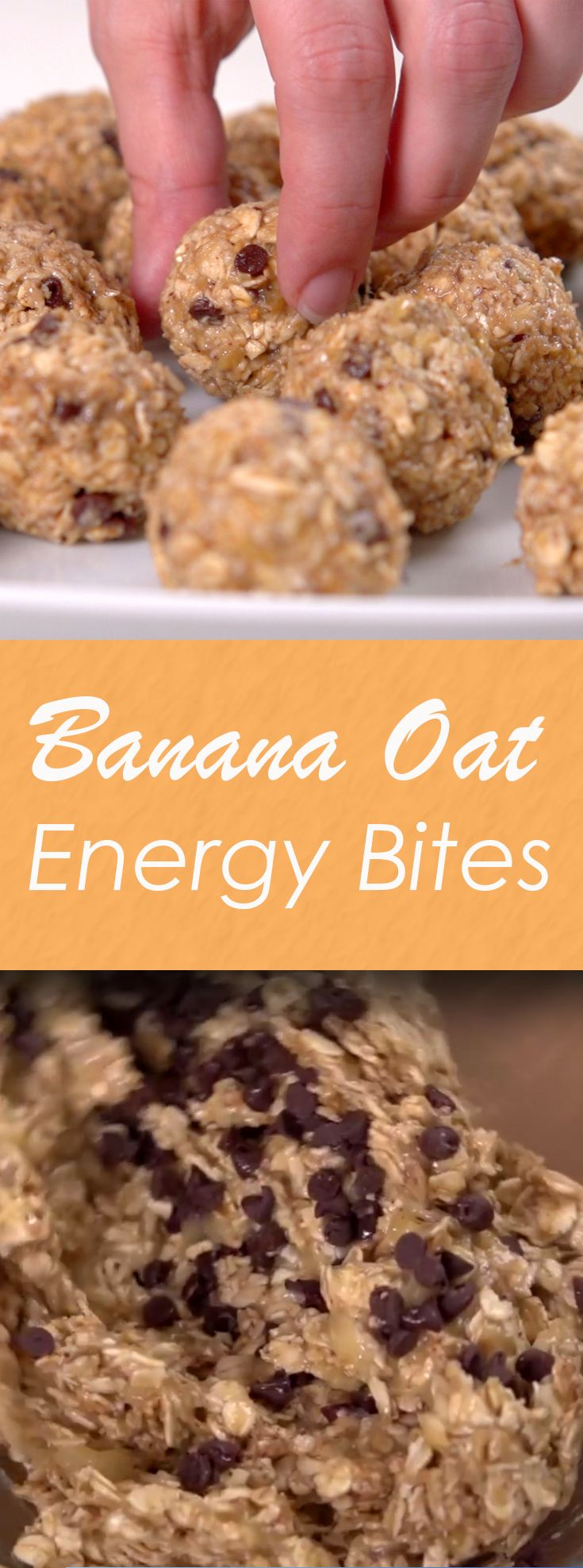 Banana Oat Energy Bites | Here's the perfect on-the-go snack. Packed with healthy ingredients like oats, bananas, almond butter, honey and cinnamon--and a sprinkle of chocolate--it's great for a quick breakfast or midday boost.  Bonus!  They are super easy to make and can me made ahead of time! Click for the video and recipe. #healthysnacks                                                                                                                                                     More