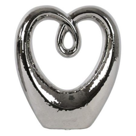 Urban Trends Collection: Ceramic Abstract Sculpture, Polished Chrome Finish, Silver