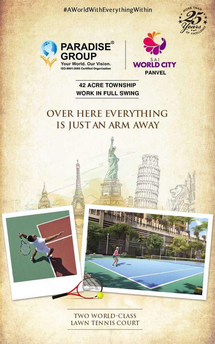 Sai World City, Panvel  Two World-Class Lawn Tennis Court  www.paradisegroup.co.in  Contact: 022 2783 1000  #realestate #luxury