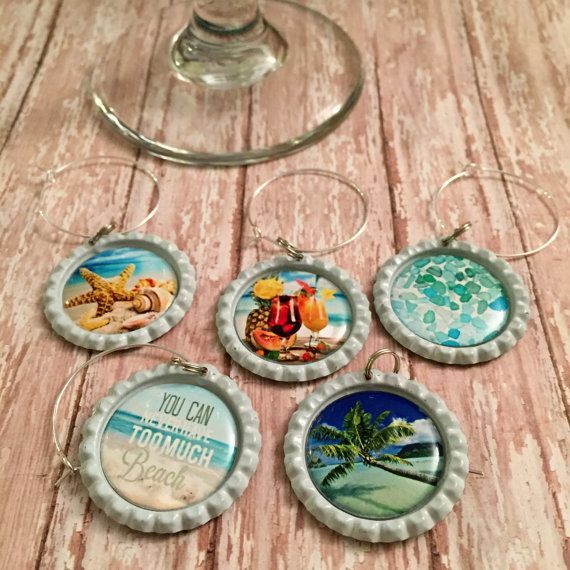 Tropical Wine Glass Charms- wineglass charms, glass markers, glass tags, party favor, barware, bar accessories, birthday gift by WineNot781