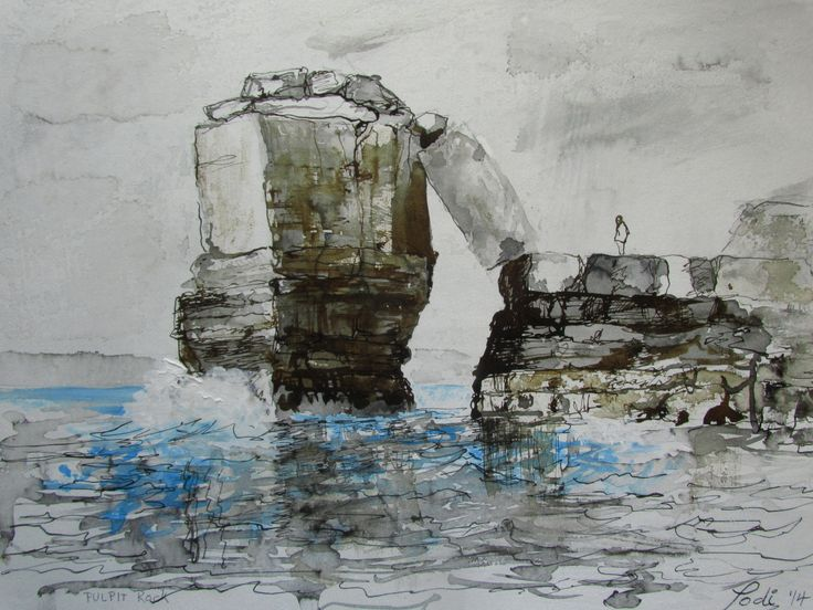 """Pulpit Rock, Portland,Dorset UK. Painted in Ink and Acrylic 12"""" x 16"""". by Podi Lawrence"""