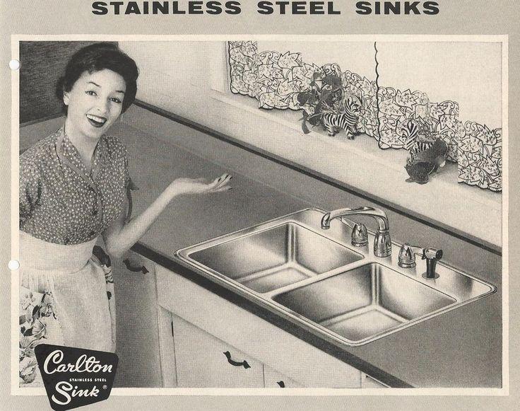 1956 CARLTON Stainless Steel Kitchen SINKS vtg ZEBRA Planters foto RETRO Catalog