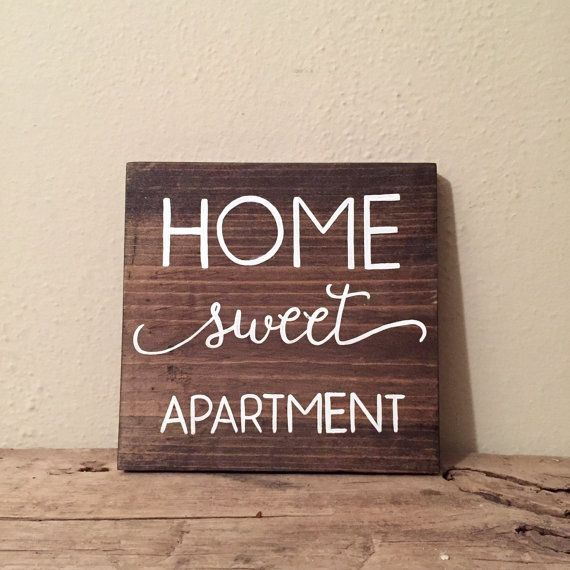 Home Sweet Apartment Wood Sign   Apartment Decor   College Student Gift