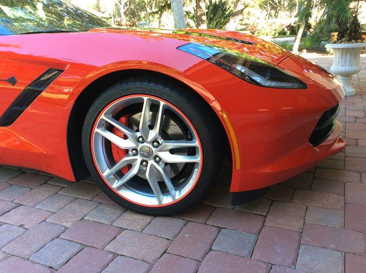 Red RimBlades Scuffs on a C7 Corvette.
