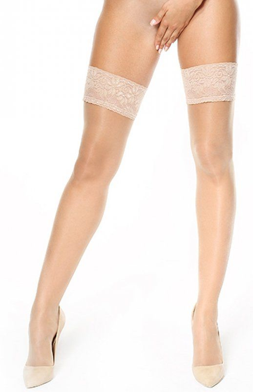 MissO S305 pończochy beżowe Subtelne pończochy samonośne, z bardzo elegancką i kobiecą koronką, niewidzialne wzmocnienie palcowe, grubośc 15den