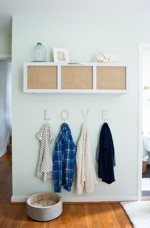 What about hung cubbies like this, with hooks, a chair, maybe a basket underneath for our last wall?