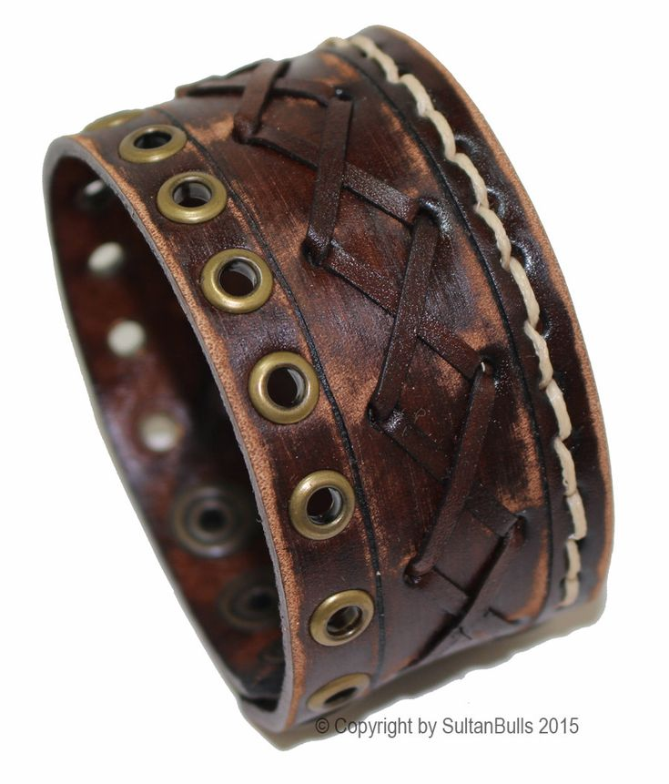 Genuine leather bracelet leather cuff first class leather wristband men's bracelet worn brown