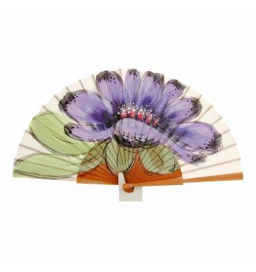 Abanico grande madera y tela flor morada