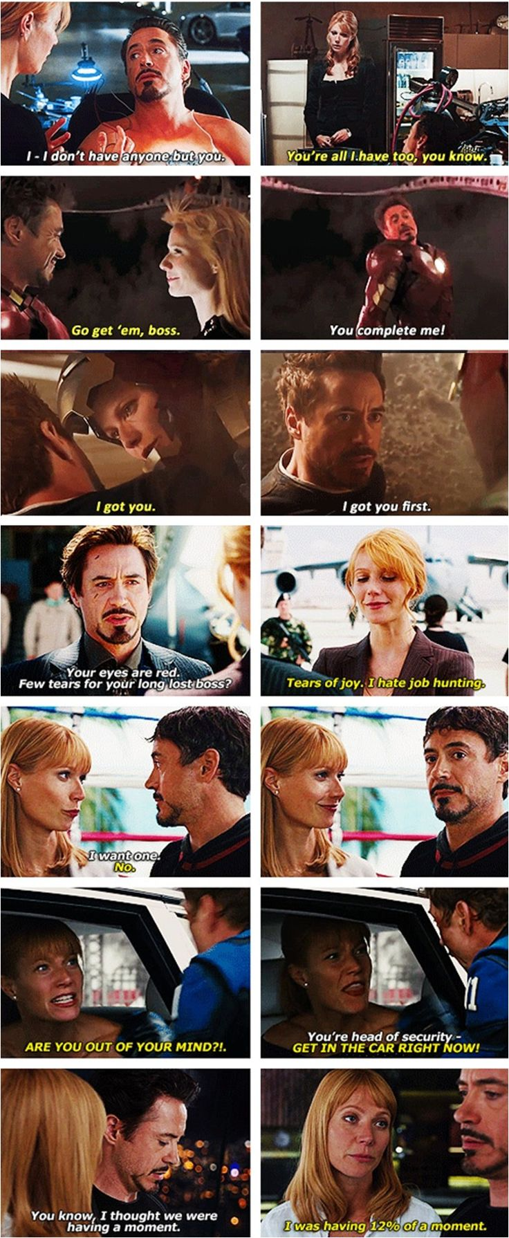 Tony and Pepper are actually perfect.  I love them.
