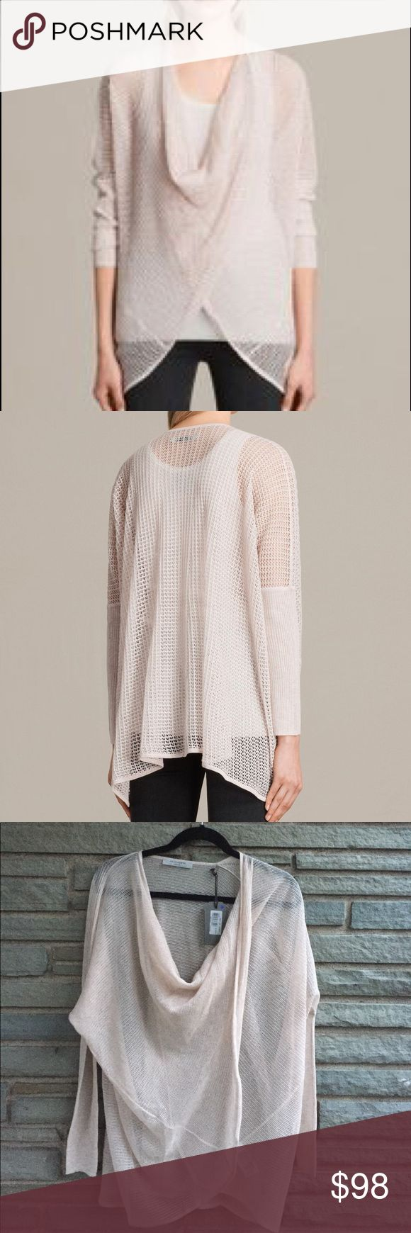 All Saints Itat Levita Shrug NWT. All Saints Itat Levita Shrug in Pink. Draped Twisted Cowl Neckline or Open Front, Ling Batwing Sleeves, Slim Ribbed Cuffs, Sheer, Lightweight. Transforms Effortlessly From a Jumper with a Twisted Front to an Open Cardigan. Size S All Saints Sweaters