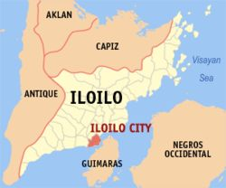 Map of Iloilo showing the location of Iloilo City