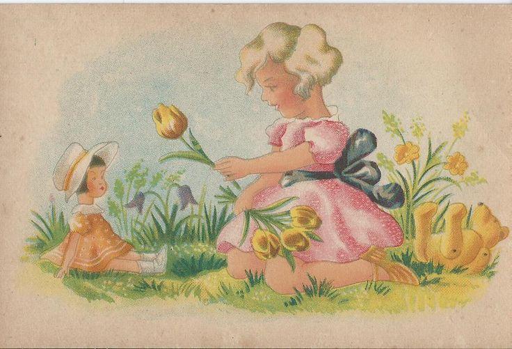 Meisje met pop en beer en gele tulpen