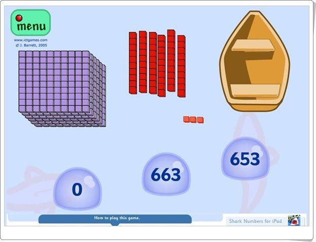 Números de tiburones (Sistema numérico decimal de Matemáticas de Primaria)