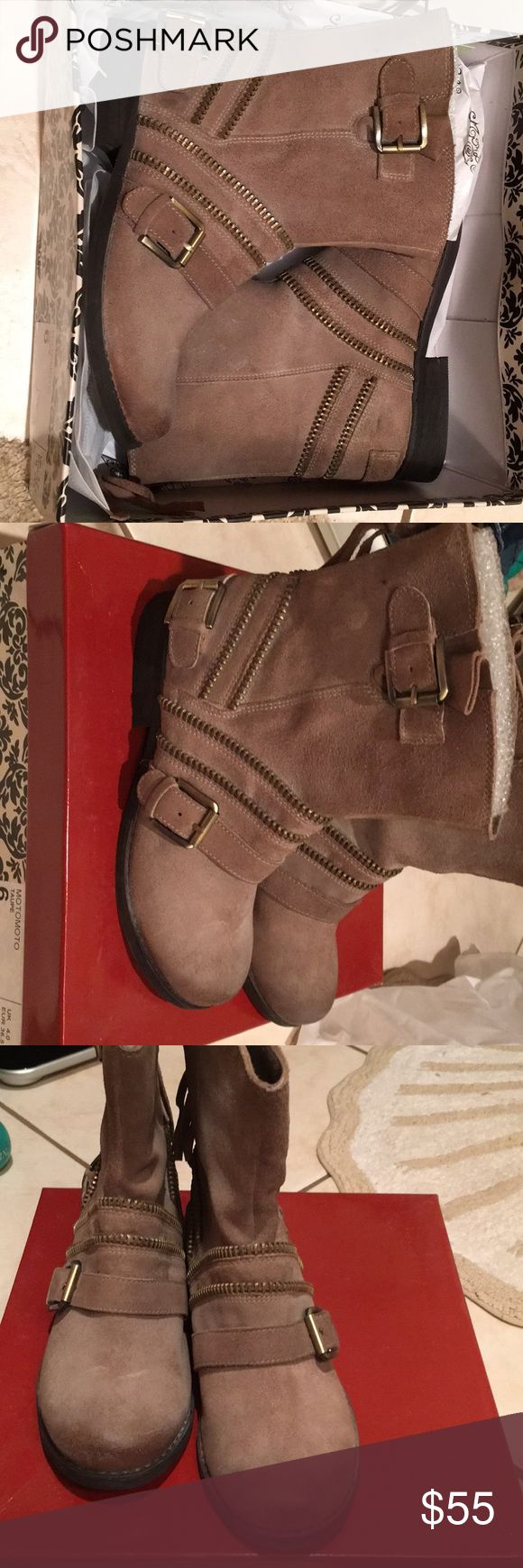 Naughty Monkey Moto boots 6 NEW taupe Naughty Monkey taupe moto boots size 6 New in box Naughty Monkey Shoes Combat & Moto Boots