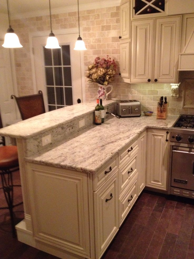 My DIY Kitchen Two Tier Peninsula Viking Range Stools From Wayfair Com  Antique White Grainy Counter Tops And Off White And