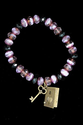Amethyst Czech rondelles w/Kabela antiqued charms - Love2BeadbyCindy