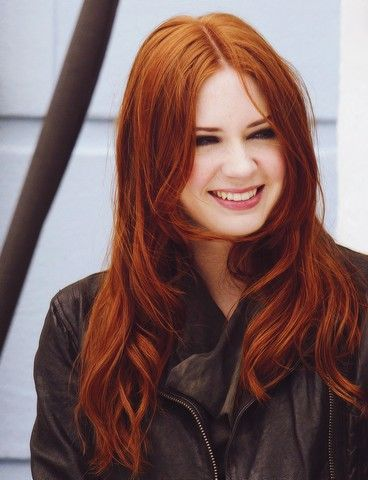 red hair brown eyes fair skin. I'm basically Karen Gillan guys. I win.