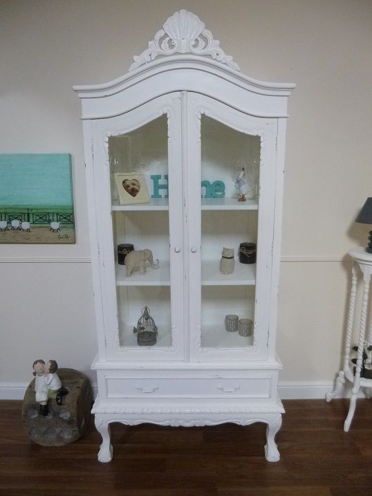 Handmade French Shabby Chic Two Door Display Cabinet In White | Display Cabinets & Bookcases | Kingdom Furnishings