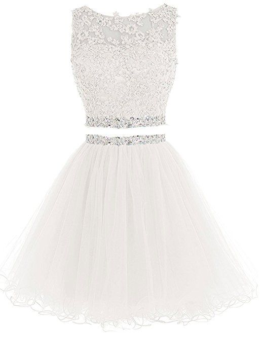 Lilibridal Two Pieces Short Beaded Prom Dress Tulle Applique Homecoming Dress LLB074