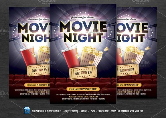 285 best Flyers images on Pinterest Flyers, Flyer template and - movie night flyer template