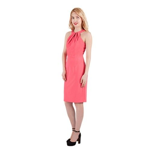 High neck fitted dress, great Spring colour & perfect for the races
