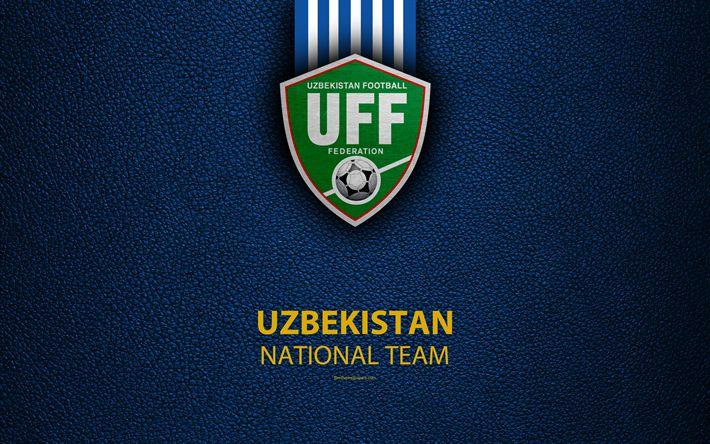 Download wallpapers Uzbekistan national football team, 4k, leather texture, emblem, logo, Asia, football, Uzbekistan, Uzbekistan Football Federation