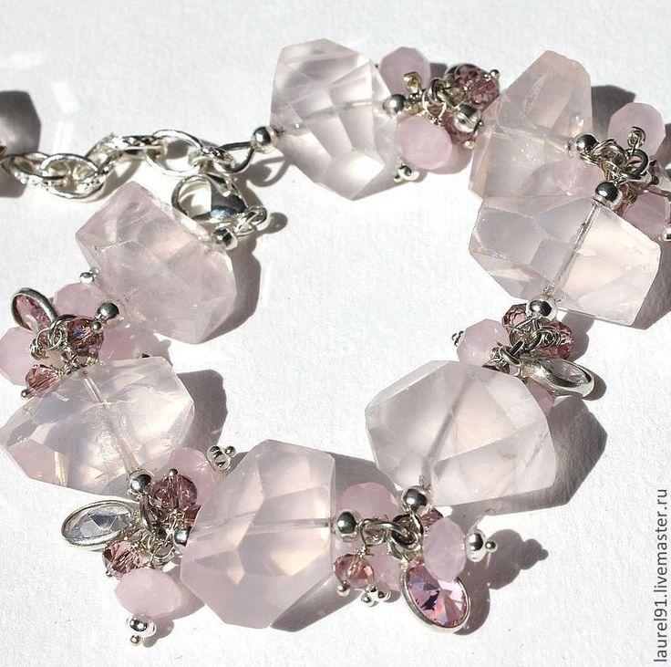 """Купить Браслет """"Розовый кристалл"""" - бледно-розовый, браслет с камнями, розовый кварц, розовый"""